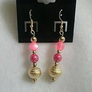 NWT Pink, purple, and gold beaded earrings